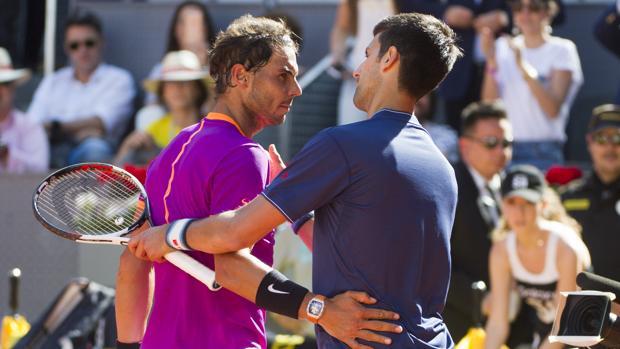 Nadal y Djokovic, en el Mutua Madrid Open de 2017
