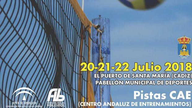 Cartel de presentación del Campeonato Andaluz Infantil de Voley Playa en el Puerto