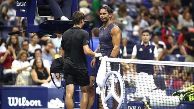 Rafael Nadal y David Ferrer durante el último partido del segundo en Grand Slams