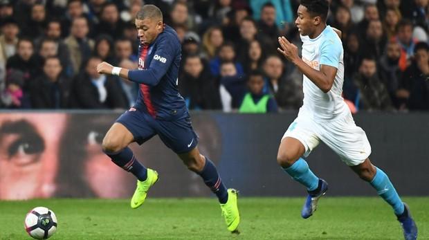 Mbappé, durante el encuentro contra el Olympique de Marsella