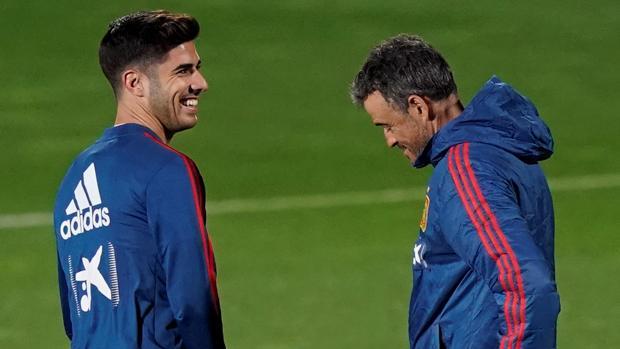 Marco Asensio, en un entrenamiento de la selección española