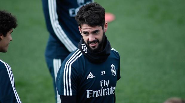 Isco, en un entrenamiento con el Real Madrid
