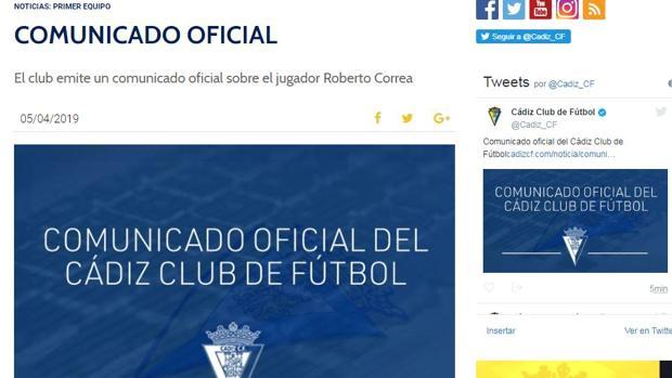 Comunicado oficial del Cádiz CF sobre el caso Correa.