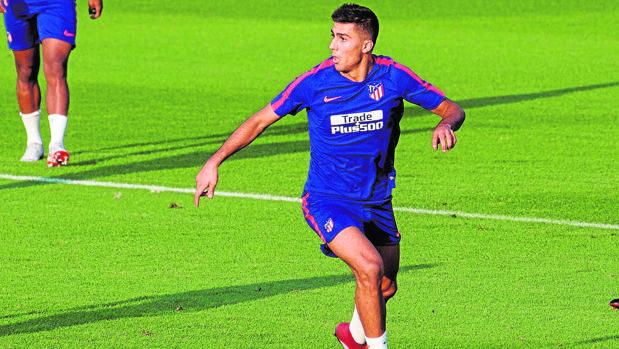 Rodri, en un entrenamiento con el Atlético