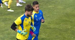 Ricky Alonso, junto a HUgo Rodríguez, en un entrenamiento en El Rosal.
