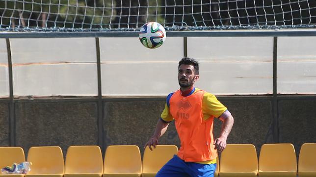 Óscar Rubio, en un entrenamiento en El Rosal.