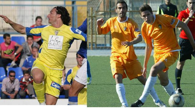 Toedtli salta a por un balón en el duelo en Écija de la 08/09 y Héctor Yuste pelea un balón en el choque ante La Unión de la 2011/12.