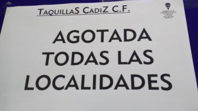 En las taquillas del Carranza ya no hay entradas para el Cádiz CF -CD Tenerife.
