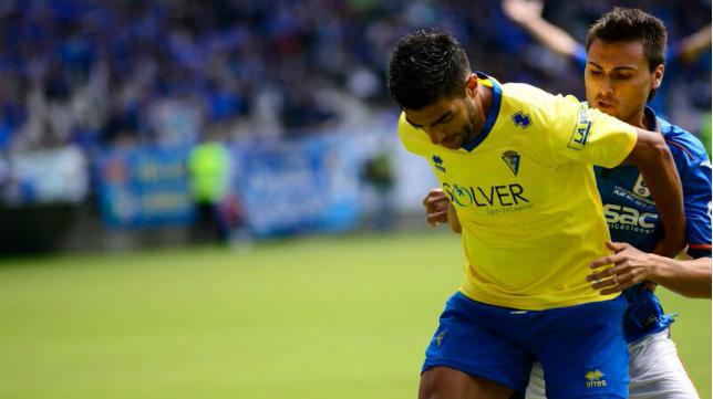 Jona en el partido ante el Oviedo
