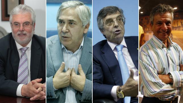 Cuatro de los presidentes de la historia del Cádiz: Manzano, Muñoz, Baldasano y Huguet.