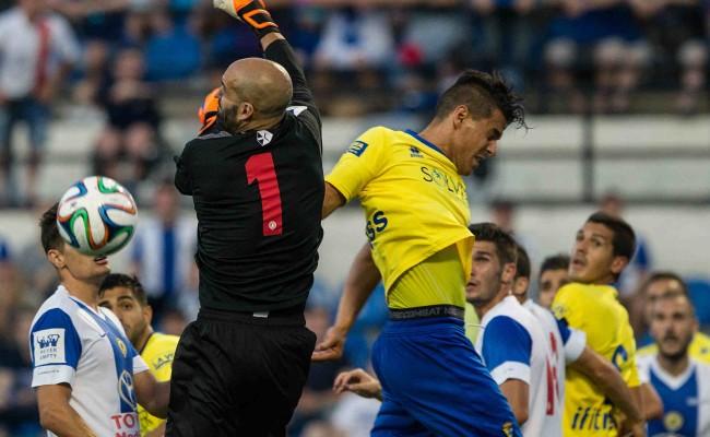 Josete y Chema en la acción que dio origen al gol de Airam