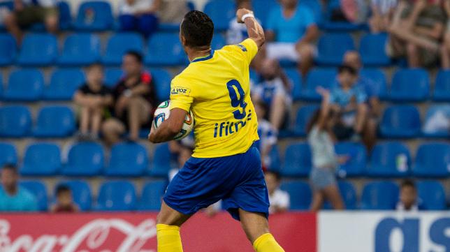 Airam celebra el gol ante el Hércules en el Rico Pérez