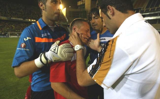 Adriá Granell lloró desconsoladamente en Carranza tras la eliminación del Albacete hace tres años.