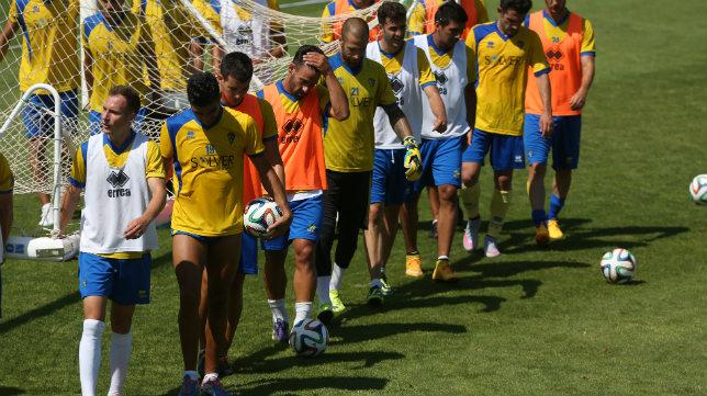 Los jugadores del Cádiz CF, en el entrenamiento del pasado miércoles.
