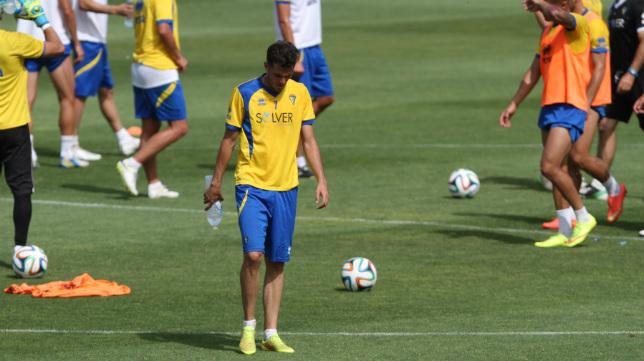 Juan Villar, en un entrenamiento en El Rosal.