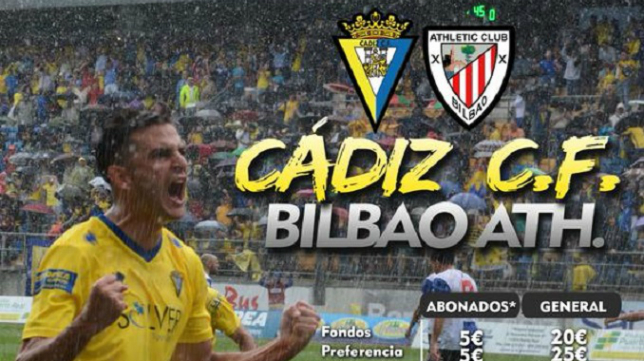 Cartel del Cádiz CF vs Bilbao Athletic de este domingo
