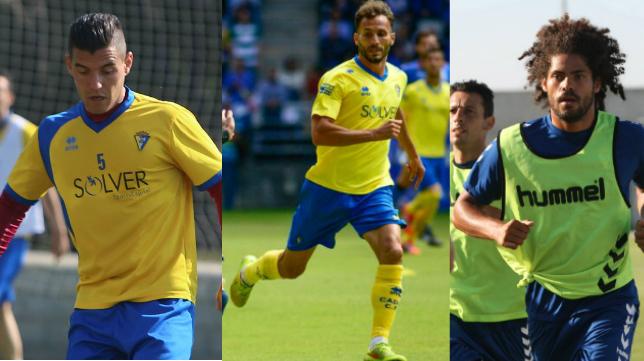 Josete, Servando y Aridane, los tres centrales del Cádiz CF