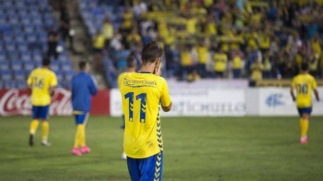 Fran Machado se lamenta de la ocasión fallada tras el partido en Huelva