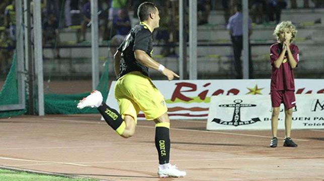 Airam celebra el gol que marcó ante el San Fernando hace dos temporadas