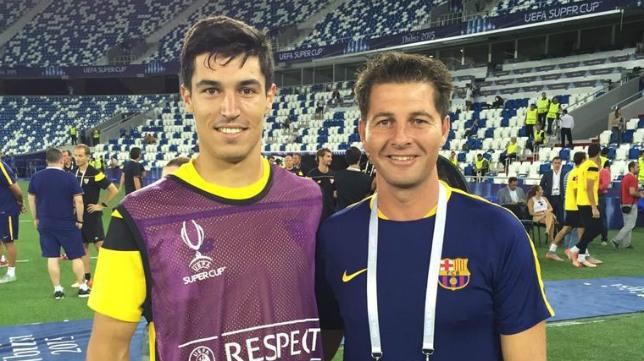 Jesús Casas y Diego González, en el Dinamo Arena de Tiflis.
