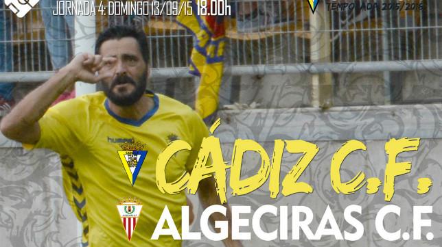Imagen del cartel anunciador del derbi con Güiza celebrando su gol ante el Cartagena.