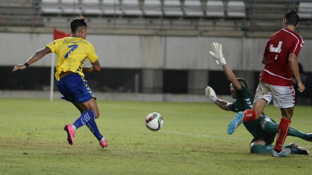Hugo Rodríguez marcó ante el Murcia.