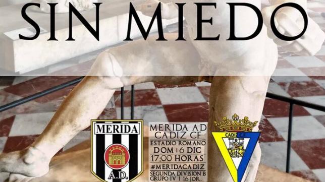 Detalle del cartel del Mérida vs Cádiz CF