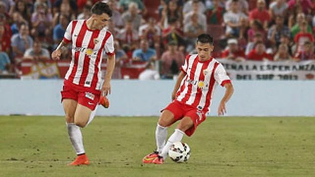 Jugadores del Almería B en un partido de esta temporada