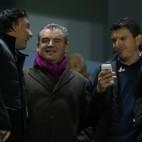 Quique Pina, Manolo Vizcaíno y David Buitrago, en un partido del Cádiz CF en Carranza.