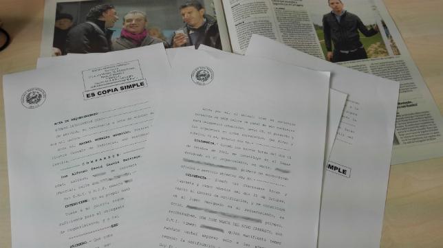 Copia del acta de requerimiento notarial que aporta David Buitrago como prueba.
