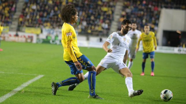Aridane en el partido ante el Real Madrid