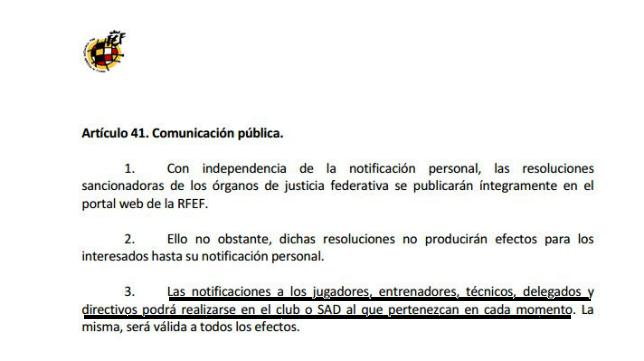 El artículo 41 al que se agarra el Real Madrid para evitar la sanción.