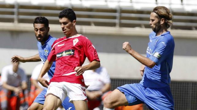 David Sánchez, en el partido de esta temporada ante el Murcia.