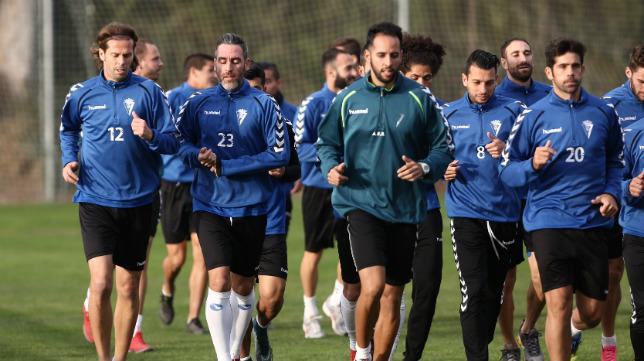 David Sánchez, junto a Abel, en el primer entrenamiento después de las vacaciones de Navidad.