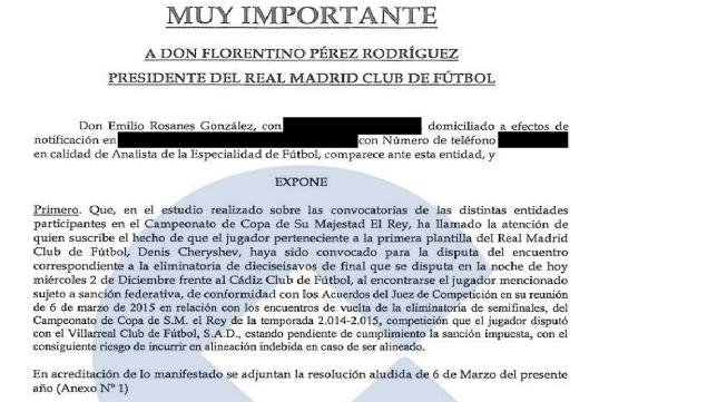 Detalle del fax que Emilio Rosanes envió al Real Madrid