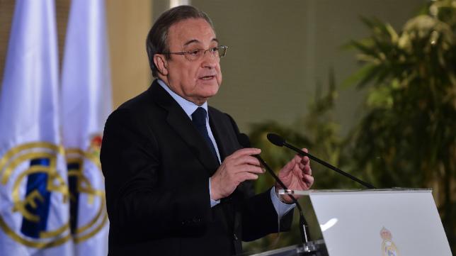 Florentino Pérez, presidente del Real Madrid, en la rueda de prensa de este jueves.