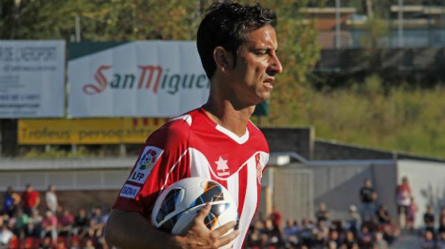 Jandro en un partido con el Girona