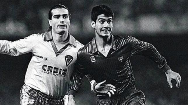 Guardiola, el día de su debut en el primer equipo del Barça. Junto a él, el cadista Indio Vázquez