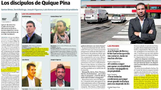 Recortes del periódico Ideal de Almería, donde Juan Carlos Cordero incluye a Buitrago en su grupo de trabajo.