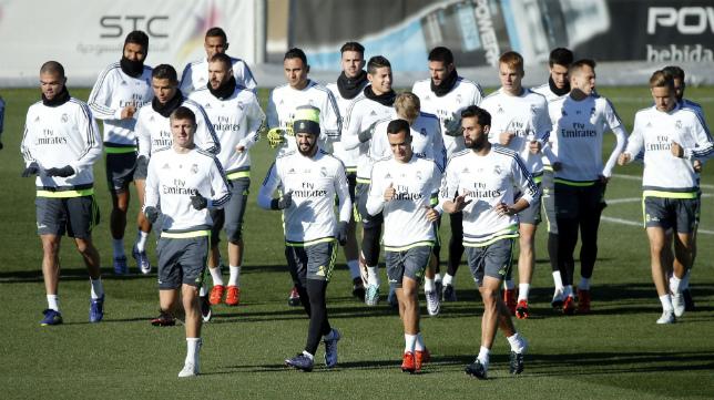 Imagen del entrenamiento del Real Madrid de esta misma mañana.