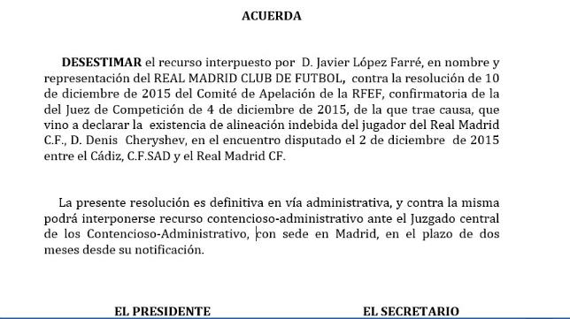 El TAD desestima el recurso del Real Madrid