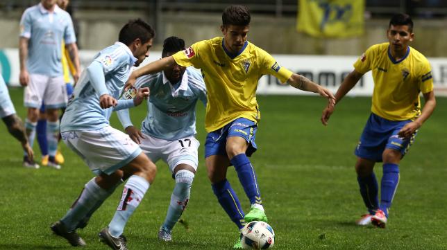 Alberto Quintana en el duelo ante el Celta en Carranza