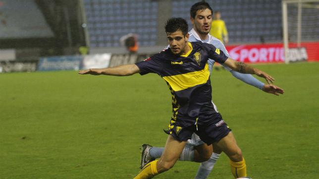 Alberto Quintana en el partido ante el Celta