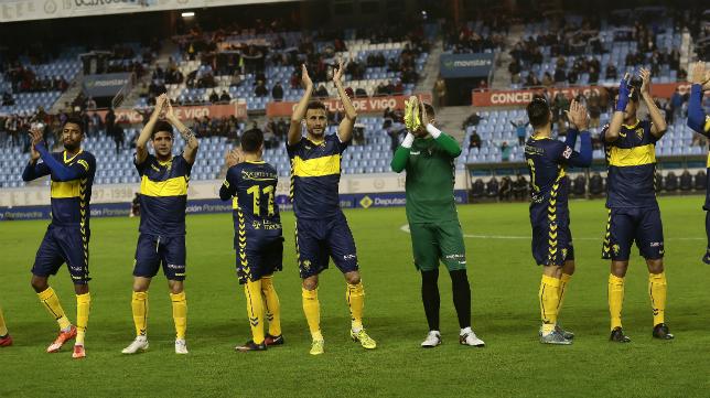 Los jugadores del Cádiz en Balaídos