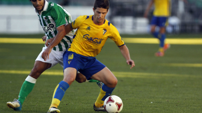 Carlos Indiano, en un partido en el Villamarín ante el Betis B.