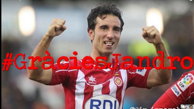 Jandro se ganó el afecto de los aficionados del Girona.