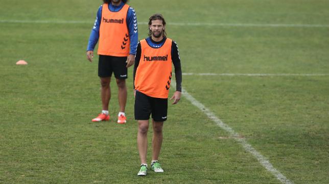 David Sánchez, en El Rosal durante un entrenamiento.