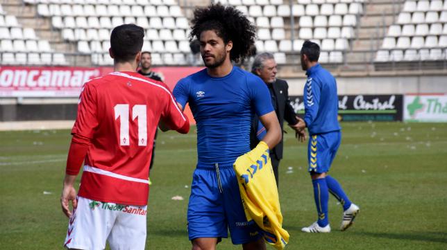 Aridane, tras el partido en Murcia.