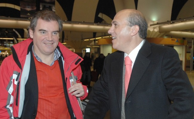Manuel Vizcaíno y José María del Nido en su etapa en el Sevilla FC