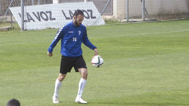 Andrés Sánchez, en un entrenamiento en El Rosal.